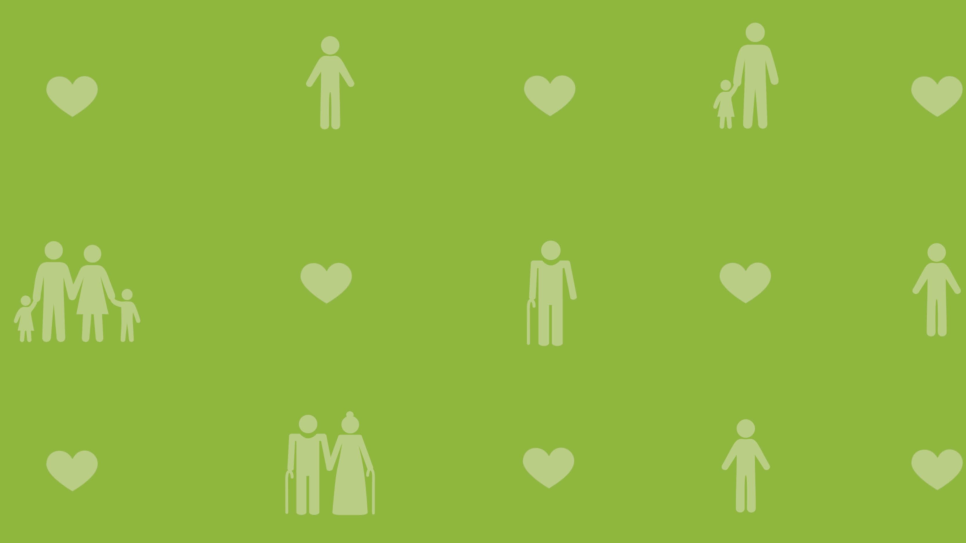 Kollage med symboler för corona på grön bakgrund.
